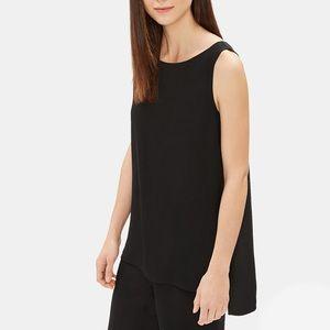 Eileen Fisher Black Silk Georgette Crepe Tunic XL